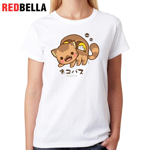 Tee-shirt femme redbella japonaises shirt design Kawaii de bande dessinée mignon beaux chats Anime Tumblr femme vêtements décontracté Top Mujer Impression Tees