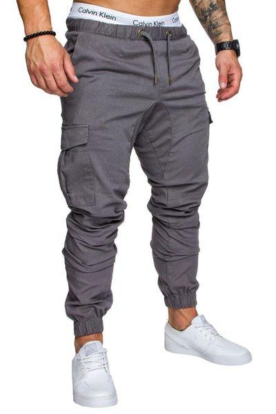2018 pantalones ocasionales del color sólido Harem pantalón masculino Coon Multi-bolsillo holgado Sportwear cómodo pantalón para hombre Joggers