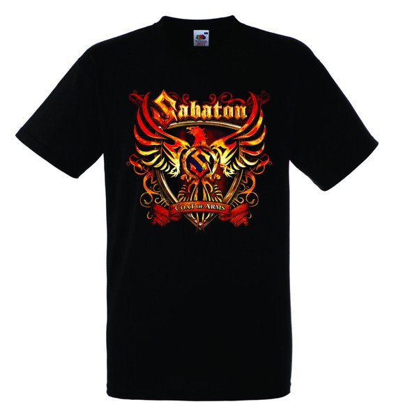 Sabaton Coat Of Arms Black New T-shirt Rock T Shirt Rock Band Shirt Round Neck Best Selling Male Natural Cotton Top Tee