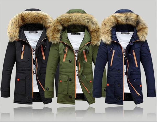 Alta calidad de los nuevos hombres de la ropa de la chaqueta de los hombres caliente Parka cuello de piel con capucha de invierno abrigo grueso Outwear abajo de la chaqueta caliente más el tamaño barato