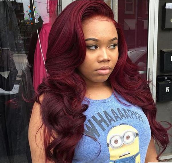 Peruca de cabelo humano 99j Brasileira Borgonha Frente Perucas de Renda Vermelha Brasileiro Virgem Do Corpo Ondulado Perucas Cheias Do Laço Para As Mulheres Negras