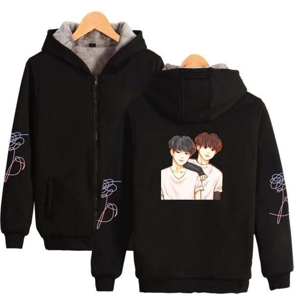 BTS K-pop Love Yourself Bangtan Boys Stay Picture JIMIN V Women bts album Thicker Hoodies Sweatshirts Zipper Winter Warm Clothes