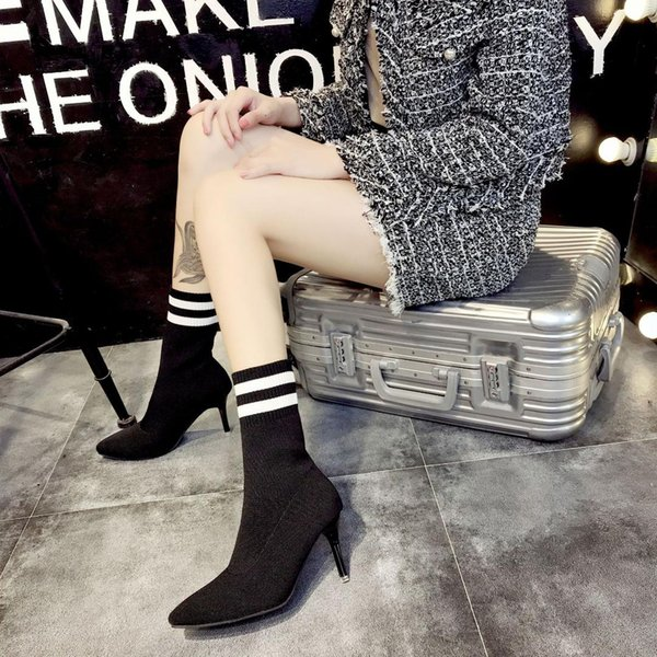 bottes femmes 2018 automne et hiver nouvelles manches longues chaussettes en laine tricotées à rayures bottes élastiques