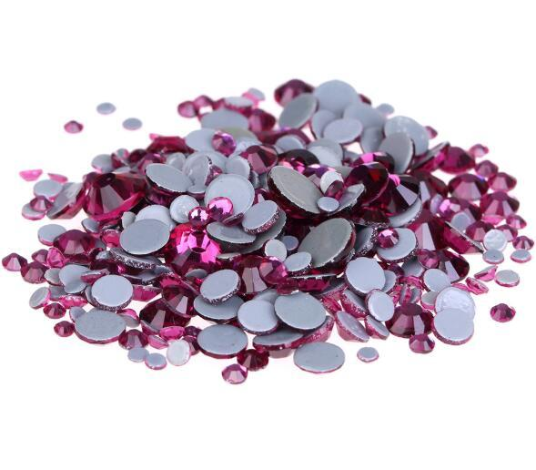Fuchsia Glitter A++ Grade Quality Glass Crystals Strass Stones Hotfix Rhinesthinestestones For clothing Garment Accessorie With Germany Glue