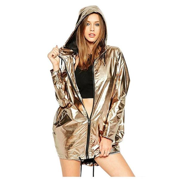 Mulheres de Ouro PVC Capa de Chuva Com Zíper Nova Moda Casual Primavera Outono Moletom Com Capuz Manga Comprida Camisola Do Punk Unisex Rua camisa Jaqueta