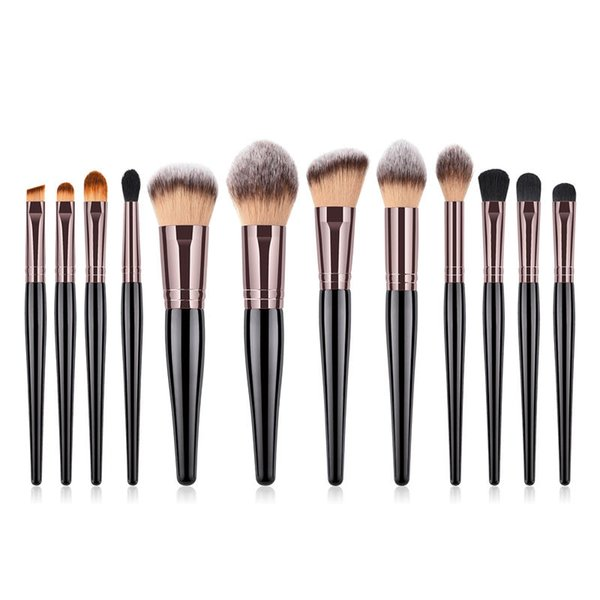 Luxury 12pcs Makeup Brushes Kit Pro Cosmetics Make Up Brush Set Wood Black Handle Nylon Fiber