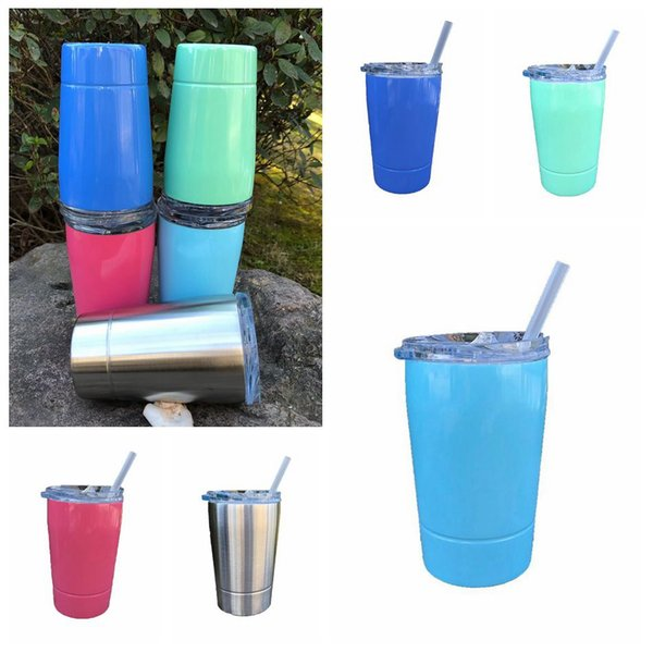 top popular Stainless Steel Cup With Lid 12oz Vacuum Insulated Beer Cup Mug Kid Cup Coffee Mugs 5 Colors 50pcs OOA4688 2021