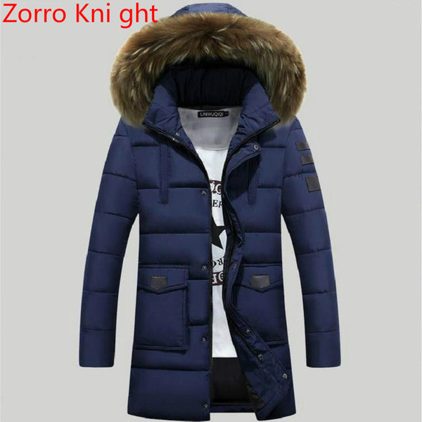 tout neuf 72c59 93b5a 2019 New Trend Navy Blue Parka Men Doudoune Homme Hiver 2018 Winter Jacket  Men Fashion Big Fur Hooded Cotton Padded Down Jacket From Merrylady, $92.28  ...