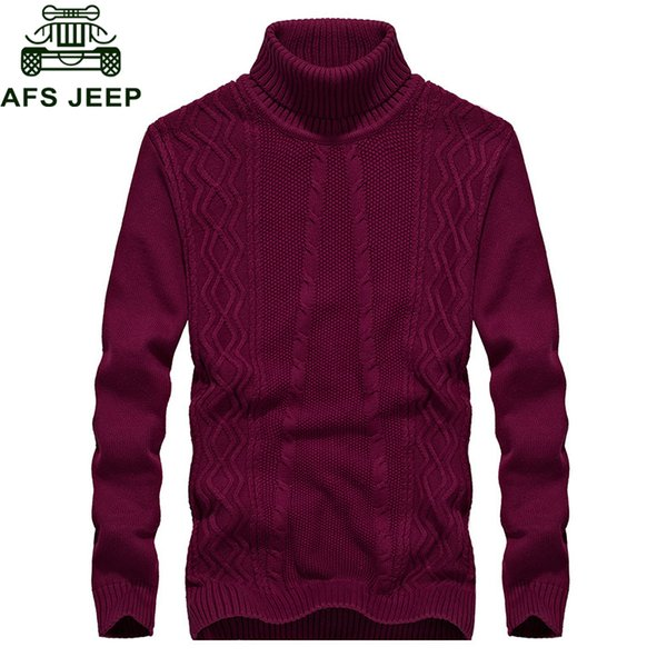 Afs 2018 Autumn Winter New Sweater Men Fashion Turtleneck Long Sleeve Warm Mens Knitted Wear Cotton Sweater Plus Size M-3XL
