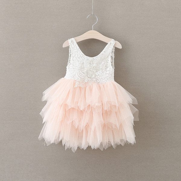 2018 Kids Clothing Baby Girl Clothes Crochet Lace Dresses Princess Pearl Dress Babies Cake Wedding Party Dress Baby Clothes