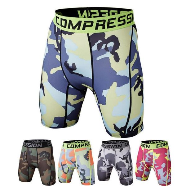 Free Shipping Mens Compression Shorts Summer Camouflage Shorts Body building Men fitness Tights Camo Shorts men