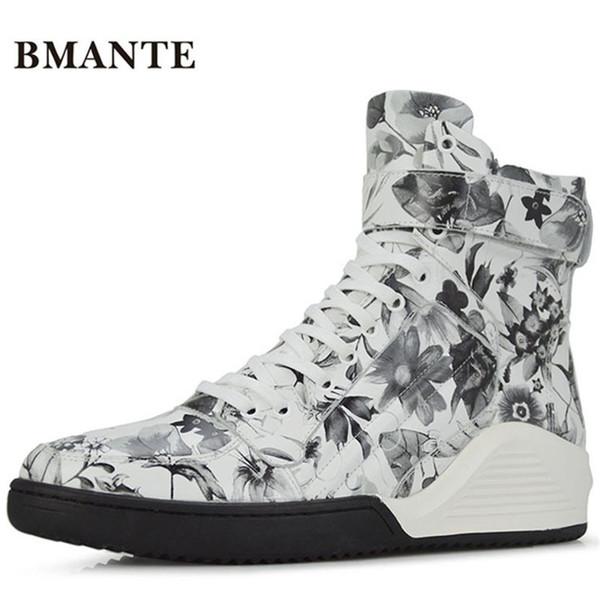 a04017b52d5 Botas de impressão de marca de couro real marca branca moda masculina  casual hightop sapato calçado