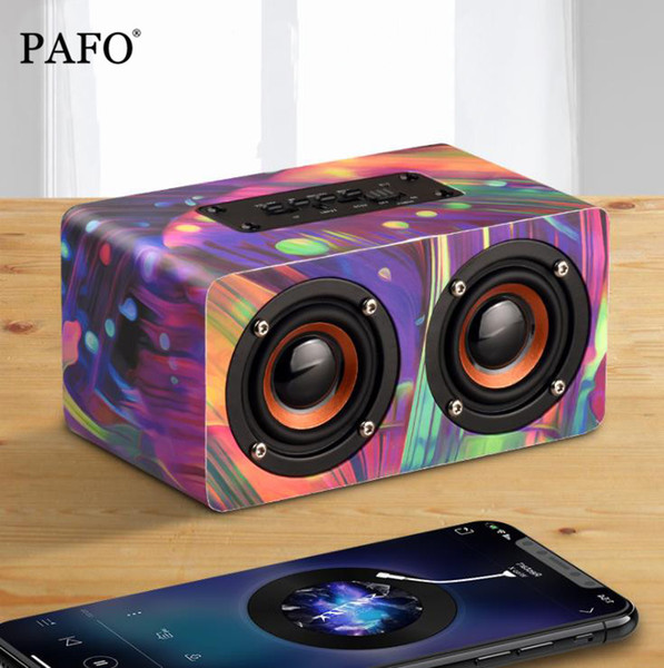 Colorful Graffiti Wooden Wireless Bluetooth Speaker Portable HiFi Shock Bass Altavoz TF FM Radio caixa de som Soundbar for iPhone Xiaomi