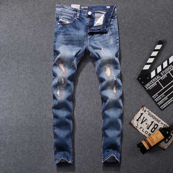2017 High Quality Original Brand Men Jeans Fashion Designer Distressed Ripped Jeans Men Straight Fit Homme,701-B