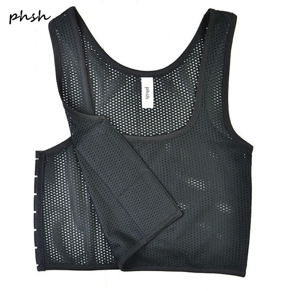 top popular PHSH Lesbian Tomboy Short Mesh Fabrice Breathable Chest Binder 3 Buckles Corset Trans Cosplay Breast Binder Vest for summer 2019