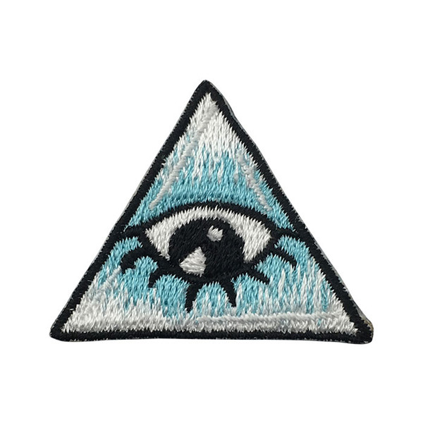 White Bright Eyes Embroidered Patches For Clothing DIY Biker Cartoon Iron On Patches Kids DIY Cute Sewing Embroidered Parches For Clothing