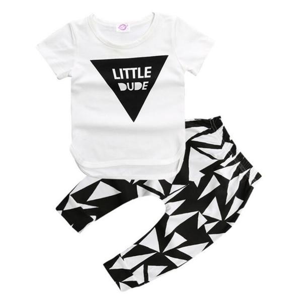 Novo INS verão estilo roupas infantis conjuntos de roupas de bebê menino Cottontle manga curta 3 pcs terno do bebê menino crianças roupas de amor 9015