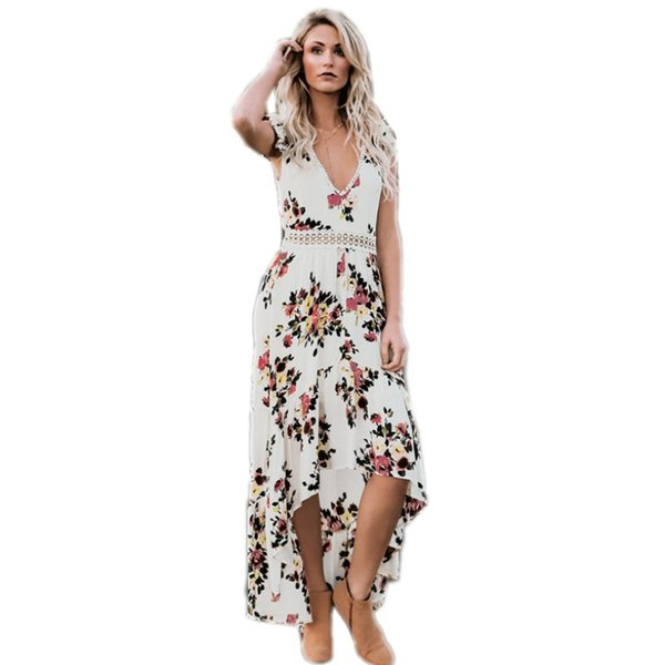3b32629a9814 YSMARKET Black White Floral Print Lace Boho Maxi Dress Sexy Deep V Neck  Backless Summer Long