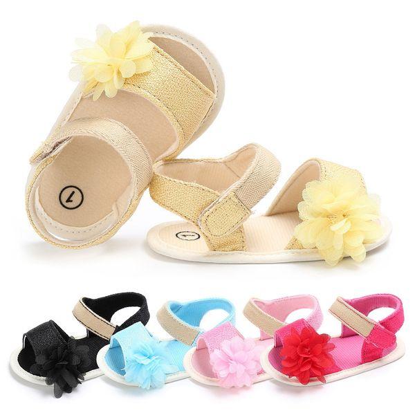 0-18 Month Infant Girls Sandals Summer Flower Baby Shoes Canvas Anti-slip Bottom Newborn Princess Walking Shoes