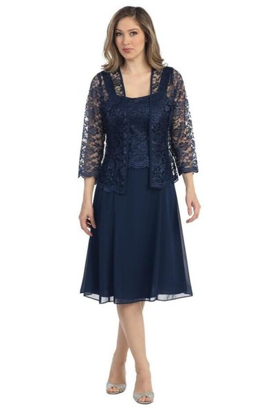 Blue Chiffon Plus Size 3/4 Long Sleeves Mother Of the bride Dresses With Jacket Sequins Formal Evening Gowns Tea Length Groom Mother dresses