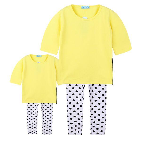 Aile Eşleştirme Kıyafetler zevk Anne ve Kızı Eşleştirme Giyim T-shirt + Nokta Pantolon Giyim Setleri Çocuklar Kız Giysileri