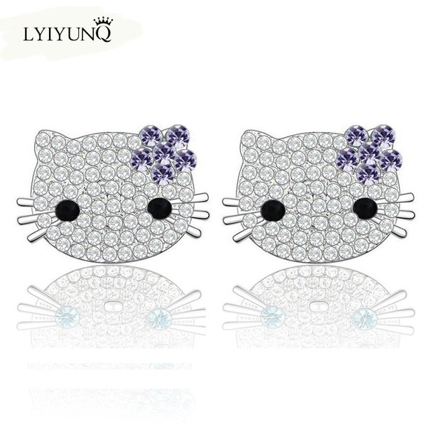 2016 Cute Animal Crystal silver plated stud earrings for girls Vintage Classic cat earring Indian jewelry for women