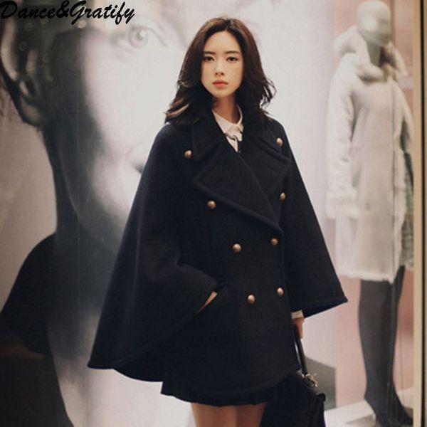 New Winter Cloak Double Breasted Woolen Blends Coat For Women Turn Down Collar High Street Femme Black Loose Oversized Coat