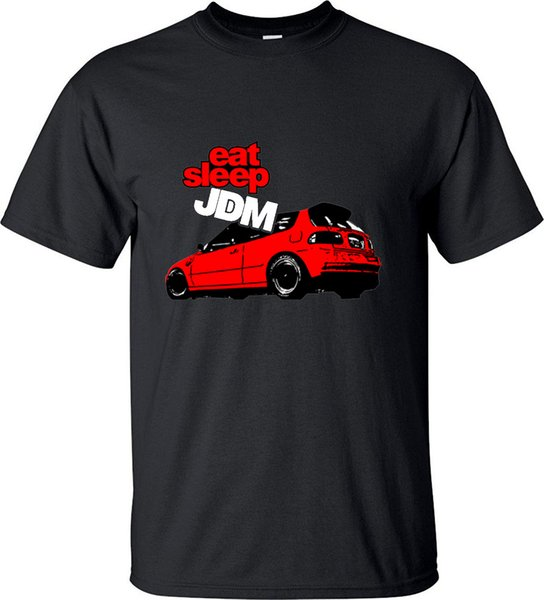 Summer T-shirt Art Car Stickers Bom Eat Sleep Jdm Red Car Art Pattern Raglan Short Sleeve Men T Shirt Casual Tee Top