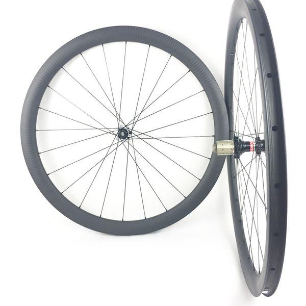 6K Twill matte 700C 42mm deep tubeless 25 wide asymmetric road disc bicycle carbon wheelset Novatec D411SB D412SB hub 24 holes