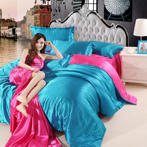 Luxury Good Quality Satin Silk Bedding Sets Flat Sheet Solid Color Bed Linen Blue/gray/pink/brown / Purple Duvet Cover King Size