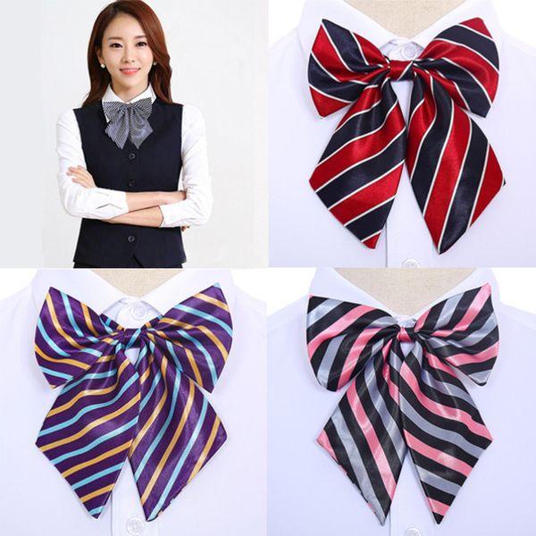 Novo Cravat Bow laços Gravatas Acessórios Do Desgaste Do Banco Banco Hotel Aeromoça 1 PC Mulheres De Seda Borboleta Listrado Senhoras Profissionais