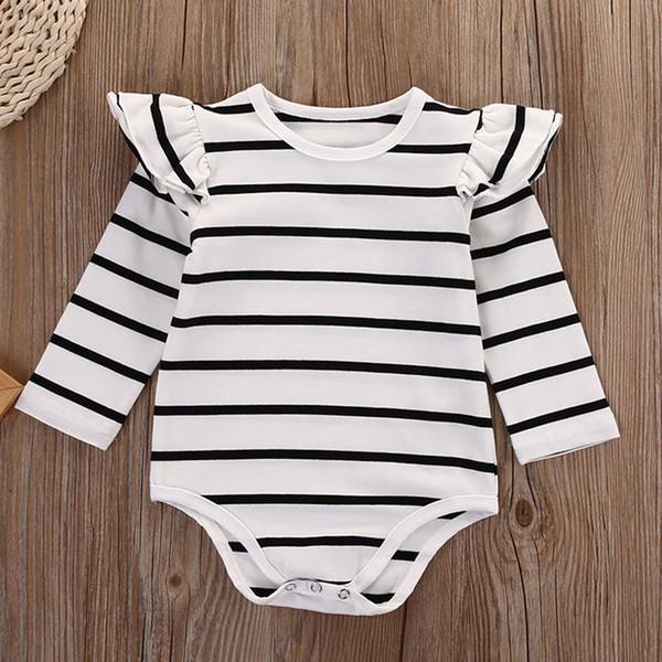 Printemps Automne Ruffles Rayé Toddler Infant Bébé Garçon Filles Vêtements Body À Manches Longues Combinaison Vêtements Vêtements Tenues 0-18 M