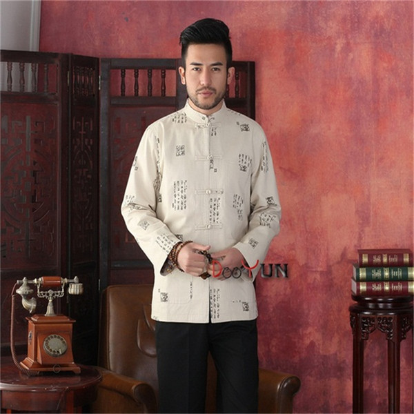 Fashion Beige Men's Long sleeve Chinese style Cotton Jacket Kung Fu Coat Oracle Print Dragon Tang Suit Size S M L XL XXL XXXL