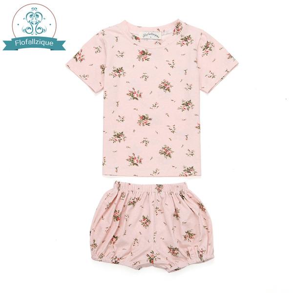 Children's Clothing Baby girls Pajamas Summer Cotton Ivy floral print 2pcs Sleepwear Kids Clothes for Girls Toddler Pijamas sets Y18102908