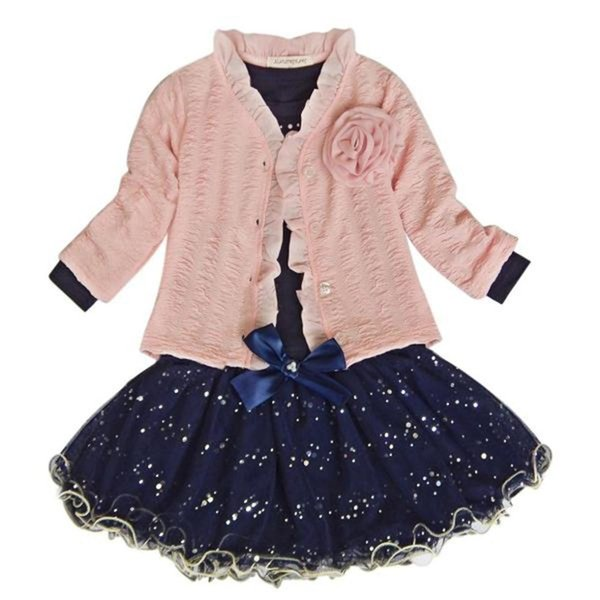 Baby Girls Coat+T-shirt+Skirt Dress Tutu Party Set Suit Pink Clothes Fashion