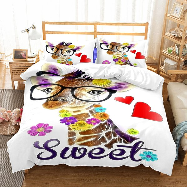 New 3D Animals Design Bedding Set 2PC/3PC Deer Cat Duvet Cover Set Of Quilt Cover & Pillowcase Twin Full Queen King Size