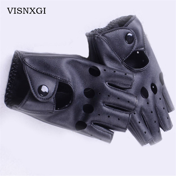 2018 Fashion Half Finger Driving Female Hole Yuga Gloves PU Leather Gloves Women Solid Black Autumn Breathable Adult Wrist G027
