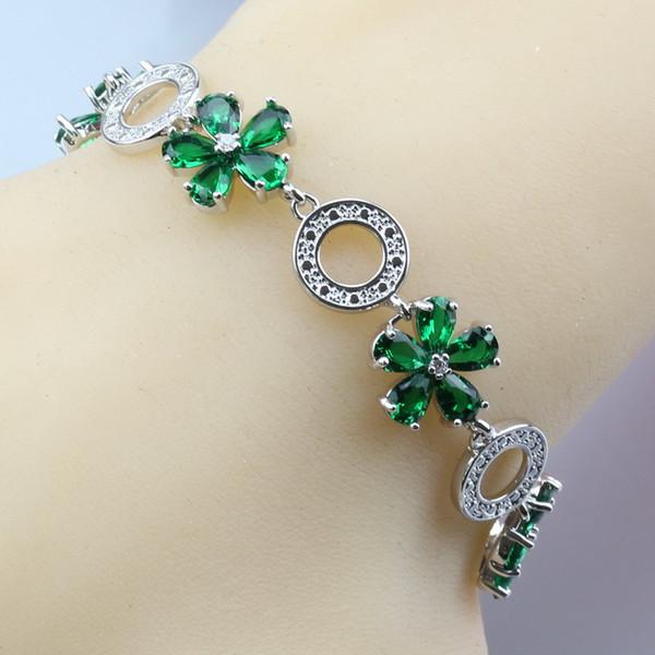 Manny Trinket 11-Color Silver Flower Alluring Jewelry Green Zircon Adjustable Link Chain Bracelet Length 21CM Free Gift Box