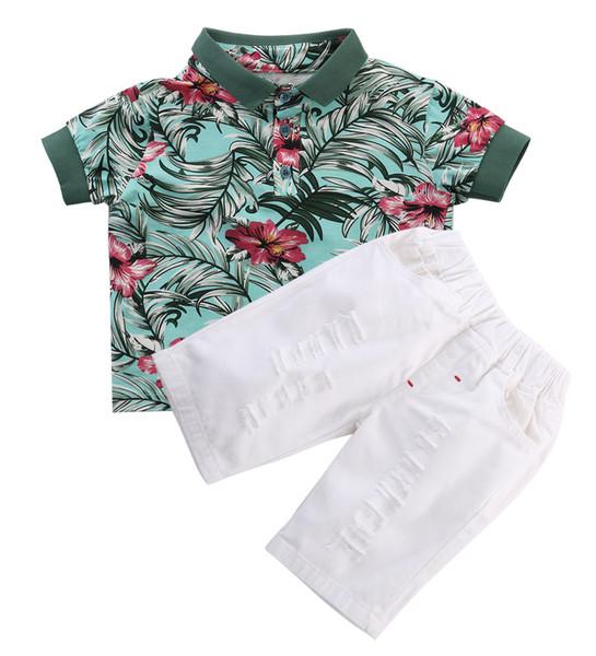 2 stücke Kleinkind Kinder Baby Boy Kleidung Sets Blume T-shirt Tops + Kurze Hosen Outfits Kleidung Set Mode Neue 2 3 4 5 6 Jahre Alt Y1892808