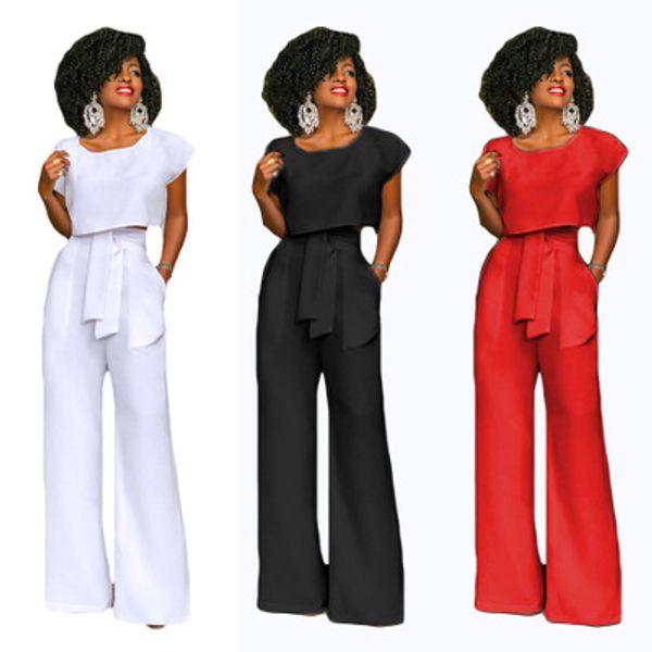 Summer Autumn Womens Office Lady establece 2018 Mujeres Sexy Clubwear Party Elegant Wide Leg Pant Body Femme 2 piezas conjunto de Monos