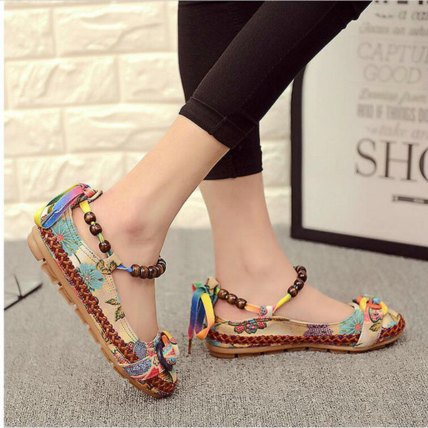 best selling Plus size42 Casual Flat Shoes Women Flats Handmade Beaded Ankle Straps Loafers Zapatos Mujer Retro Ethnic Embroidered Shoes000