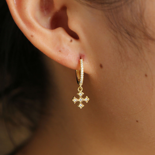 925 sterling silver cross dangle hoop earring with cz paved gold tiny hoop earrings for wedding earring