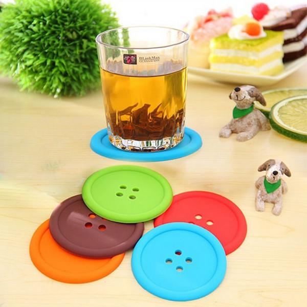 Kreative Button Coaster Pads Home Runde Silikon Cup Kissenhalter Matten Trinken Tischset S