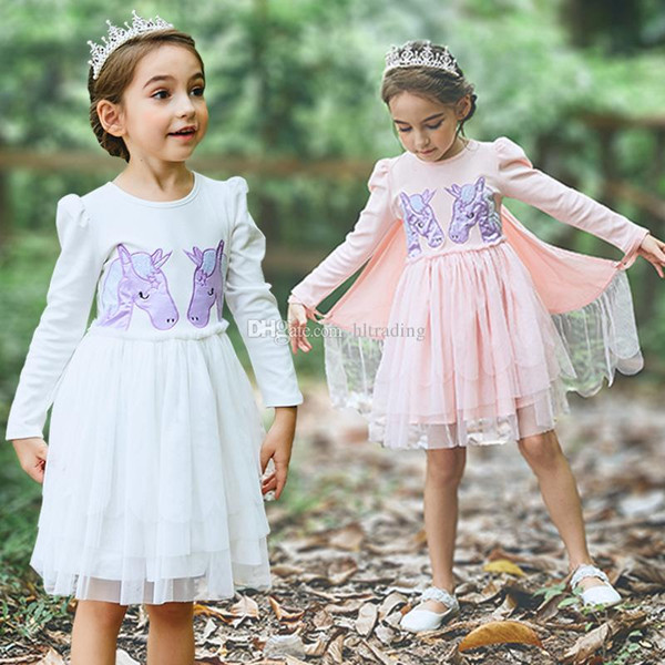 741299d34b0 Baby girls unicorn wings dress children embroidery princess dresses 2018  autumn Boutique kids perform Dress Clothing