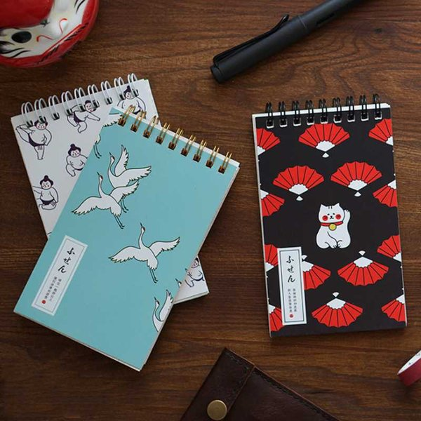 1 Pcs Novelty Fortune Cat Notebook Mini Grid Spiral Notepad Japanese Sumo Memo Planner Schedule Stationery Notebook Supplies