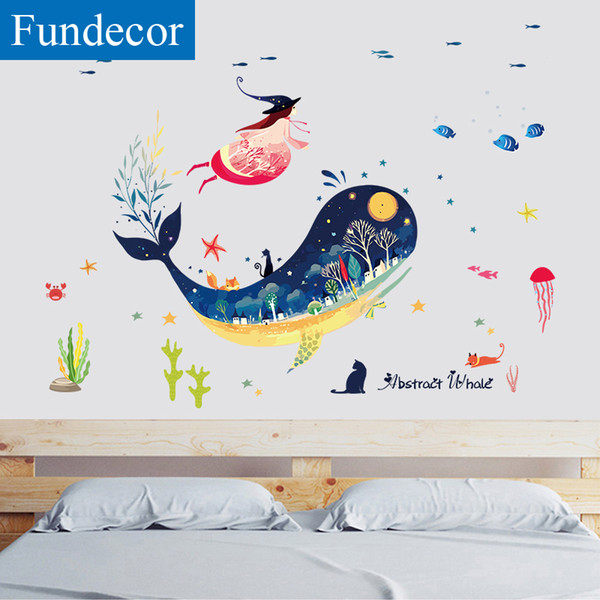 [Fundecor] Submarine Whale Animal Wall Sticker For Kids Rooms Baby Girls Bedroom Bathroom Tiles Wall Decals Mural DIY Home Decor
