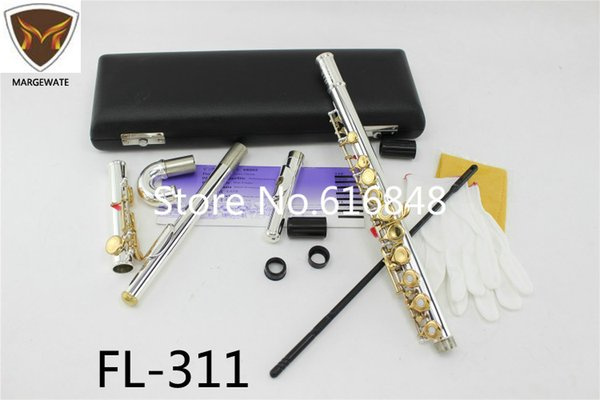 FL-311 Standard C Tune Flute Small Elbow Curved Head 16 / 17 Key Holes Open Closed Flute Silver Body Gold Key Instrument Flauta
