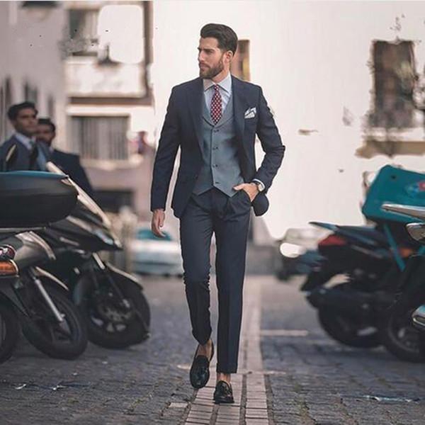 Black Man Suit Custom Made Wedding Suits Prom Wear Slim Fit Groom Tuxedo Handsome Men Blazer Groomsmen Suits (jacket+pant+vest)