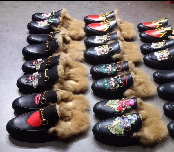 Men de igner genuine leather loafer fur luxury lipper with buckle fa hion women princetown ca ual fur mule flat new 34 44