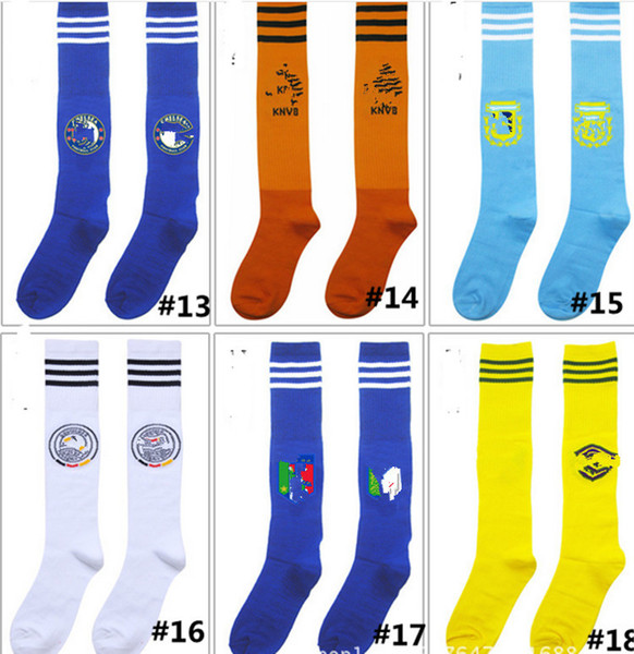 2018 World Cup children Football Socks Over Knee Sport Long Socks For Kids Multicolor Striped Students Stockings With Paperboard new